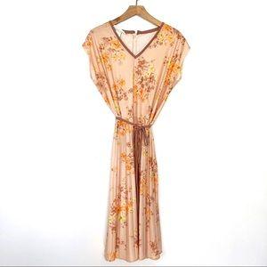 Vintage 70s floral dress midi pleated short sleeve